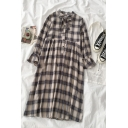 Girls Cute Khaki Ruffle Sleeve Bow Tie Neck Plaid Printed Button Front Long Swing Dress with Tank Dress
