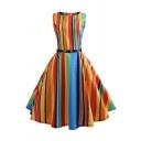 Pretty Girls' Sleeveless Boat Neck Stripe Printed Zipper Back Belted Midi Pleated Flared Dress in Orange