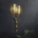 Moderism Half- Cylinder Sconce Metal 2 Heads Wall Mounted Light Fixture in Brass with Arm