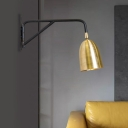 1 Head Trumpet Sconce Modernism Metal Wall Mount Lighting in Gold with Swing Arm