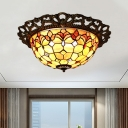 3 Lights Floral Flush Ceiling Light Mediterranean Brass Shell Flush Mount Lighting Fixture