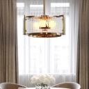 Prismatic Glass Drum Pendant Chandelier Modernism 3 Bulbs Ceiling Hanging Light in Brass