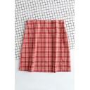 Fashion Red High Waist Plaid Pattern Zipper Back Mini A-Line Skirt for Women