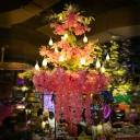Pink 3 Tiers Chandelier Pendant Light Vintage Metal 21 Lights LED Flower Restaurant Drop Lamp