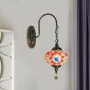 1 Head Sconce Light Fixture Traditionalist Red/Red and Blue Stained Glass Wall Mounted Lamp for Coffee Shop