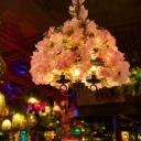 Metal Pink Flower Chandelier Lamp Dome 3 Bulbs Antique Hanging Ceiling Light for Restaurant