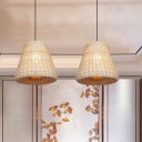Wide Flare Pendant Lighting Contemporary Bamboo 1 Bulb Khaki Hanging Ceiling Light