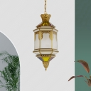1 Bulb Hanging Light Fixture Art Deco Restaurant Suspension Pendant Lamp with Lantern White Glass Shade in Brass