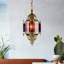 Lantern Metal Ceiling Chandelier Antiqued 3 Heads Restaurant Pendant Light in Brass with Red Glass Shade