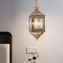 Art Deco Lantern Pendant Chandelier 3 Lights Metal Hanging Lamp in Brass with Frosted Glass Shade