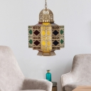 Geometric Restaurant Chandelier Traditional Brass Metal 6 Bulbs Pendant Lamp with Colorful Glass Shade