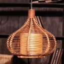 1 Head Restaurant Pendant Lamp Asia Coffee Ceiling Hanging Light with Jar Bamboo Shade