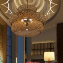 Chinese Wide Flare Chandelier Lighting Bamboo 6 Bulbs Hanging Pendant Light in Brown
