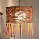 Cylinder Down Lighting Asia Wood 1 Head Brown Pendant Light Fixture with Globe Milky Glass Shade