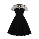 Ladies Vintage Bowtie Neck Polka Dot Print Sheer Mesh Patchwork Short Sleeve Keyhole Back Plain Midi Flared Dress