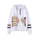 Fancy Hand Grasp Printed Long Sleeves Regular Fit Varsity Striped Drawstring Hoodie