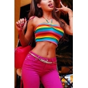Cute Rainbow Stripe Printed Ruched Front Slim Fit Cropped Halter Tank Top for Girls