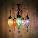 Bronze Urn Hanging Chandelier Traditional Red/Yellow/Green Prismatic Glass 5 Heads Bar Ceiling Pendant Lamp