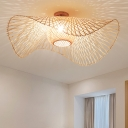 Bamboo Hand-Worked Semi Flush Light Japanese 2 Heads Beige Close to Ceiling Lighting