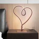 Contemporary LED Task Lighting Coffee Heart Night Table Lamp with Acrylic Shade, White/Warm Light