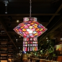 Rust 1 Bulb Ceiling Hang Fixture Traditional Metal Lantern Suspension Light for Restaurant