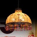 Decorative Bowl Pendant Chandelier 3/6 Bulbs Metal Down Lighting in White/Beige/Red, 14.5