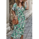 Gorgeous Leisure Ladies' Short Sleeve Surplice Neck All Over Floral Printed Tied Waist Long Wrap Beach Dress