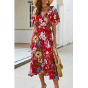 Glamorous Short Sleeve Surplice Neck All-Over Flower Pattern Tie Waist Ruffled Maxi Wrap Beach Dress