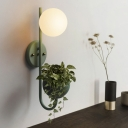 Sphere Bedroom Sconce Light Industrial Metal 1 Bulb Yellow/Blue/Green LED Wall Lighting with Plant Decoration