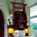 Amber Glass Dark Wood Chandelier Lighting Fixture Lantern 3 Lights Industrial Style Hanging Fixture