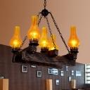 5 Lights Chandelier Lamp Vintage Vase Shaped Amber Crackle Glass Pendant in Dark Wood for Dining Room