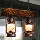 Dark Brown Lantern Pendant Lighting Fixture Retro Opal Glass 2 Lights Living Room Island Lamp