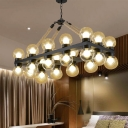 24 Lights Clear Glass Linear Pendant Vintage Black Molecule Living Room Island Lamp