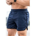 Men's Popular Contrast Tape Trim Drawstring Waist Slim Fit Sport Shorts with Pocket