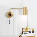 1 Head Tubular Wall Lamp Contemporary Metal Sconce Light Fixture in Brass/Black with Swing Arm