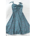 Stylish Popular Girls' Sleeveless Bow Tie Shoulder All Over Floral Print Midi Pleated Flared Dress
