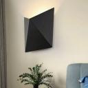 Geometric Wall Lighting Modernist Metal LED Black Sconce Light Fixture in White/Warm Light