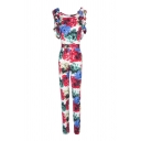 Pretty Ladies' Ruffle Sleeve Round Neck Floral Pattern Full Length Slim Fit Straight Jumpsuits in White