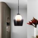Jar Living Room Pendant Lighting Smoked Glass 1 Bulb Modernist Ceiling Suspension Lamp