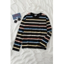 Simple Stripe Printed Round Neck Long Sleeves Relaxed Loose T-Shirt for Women