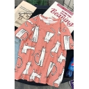 Funny Allover Cat Printed Short Sleeves Crewneck Relaxed Loose Fashion T-Shirt