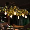 Vintage Bare Bulb Chandelier Lamp 3/6 Bulbs Metal LED Plant Ceiling Pendant Light in Green
