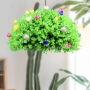 Green 1 Head Pendant Lamp Industrial Metal Flower and Grass LED Hanging Ceiling Light