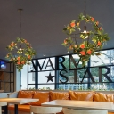 Caged Restaurant Pendant Ceiling Light Retro Metal 1 Head Green LED Drop Lamp with Flower Decor