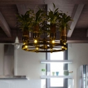 8 Lights Wine Bottle Chandelier Industrial Green Metal LED Plant Pendant Light for Restaurant