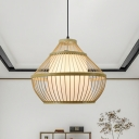 Bamboo Droplet Hanging Light Asia 1 Head Beige Suspended Lighting Fixture with Cone White Parchment Shade