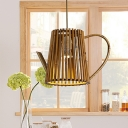 1 Head Dining Room Hanging Lamp Asia Khaki Pendant Light Fixture with Teapot Wood Shade