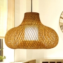 Hand Woven Pendant Lighting Japanese Bamboo 1 Head Ceiling Suspension Lamp in Flaxen
