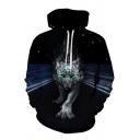 Black Cool Wolf in Road 3D Printed Long Sleeves Loose Fit Drawstring Hoodie