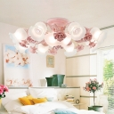 Milk Glass Blossom Ceiling Lighting Traditional 5/7/11 Heads Bedroom Semi Flush Mount Light Fixture in Pink/Blue